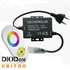 Контроллер RGB (1500W-RF-5) для светодиодных лент 220V с радио-пультом на 5 кнопок + TOUCH 1500W BIOM