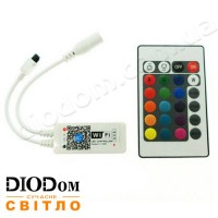 Wi-Fi контроллер RGBW (управление с Android, IOS) 8A c пультом д/у 24 кнопки 96W BIOM