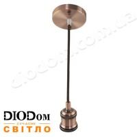 Подвесной металлический Loft светильник TESLA E27 (бронзовый) 1м 60W Horoz