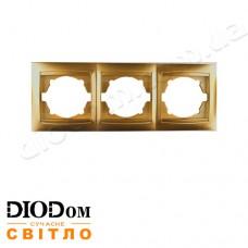 Рамка 3-яСакура золото горизонтальная LMR1212 LEMANSO