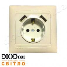 Розетка врезная 1-я с заземлением + 2 USB Сакура крем LM1036 LEMANSO