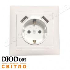 Розетка врезная 1-я с заземлением + 2 USB Сакура белая LM1039 LEMANSO