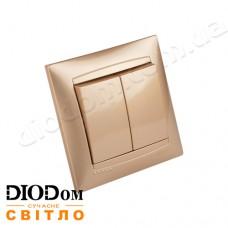 Выключатель врезной 2-й Сакура золото LMR1205 LEMANSO