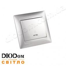 Выключатель врезной проходной с LED подсветкой 1-й Сакура серебро LMR1303 LEMANSO
