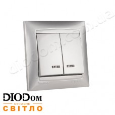 Выключатель врезной 2-й с LED подсветкой Сакура серебро LMR1307 LEMANSO